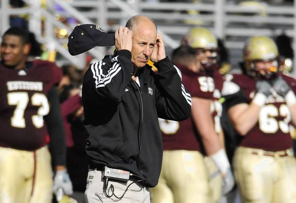 Kutztown's coach Ray Monica watches his players on November 19, 2011.