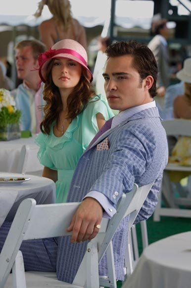 "Sherbet-colored chiffon and seersucker work for the ""Gossip Girl"" power couple."