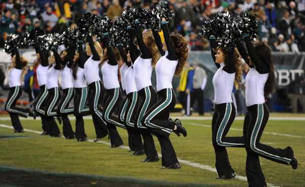 Eagles Cheerleaders entertain the crowd during the Eagles vs Bengals game at Lincoln Financial Field on Thursday.