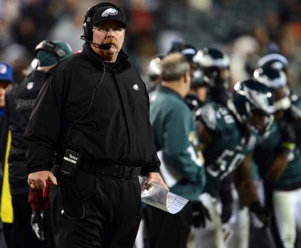 Philadelphia Eagles head coach Andy Reid watches the time tick down against the Cincinnati Bengals at Lincoln Financial Field in Philadelphia on Thursday.
