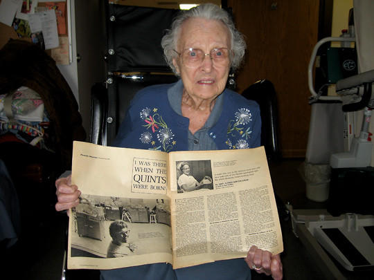Lillian Kirchgasler was one of the nurses who helped deliver the quintuplets of Mary Ann and Andrew Fischer of Aberdeen.