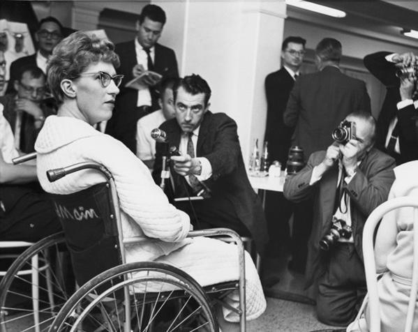 Mary Ann Fischer addresses the media in September 1963