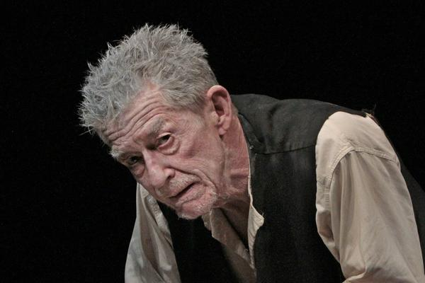 John Hurt's performance in this two-character piece (the aged Krapp and his recorded younger voice on tape) was a tour de force of Beckettian acting in which slapstick and poetry united to scale our common abyss.