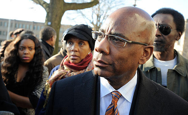 Morgan State University president David J. Wilson attends a rally held by students and faculty to support him.