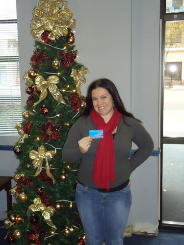 with her $100 American Express gift card!