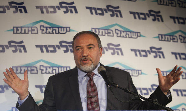 Israeli Foreign Minister Avigdor Lieberman speaks to the media Thursday during an event for his political party in Tel Aviv.
