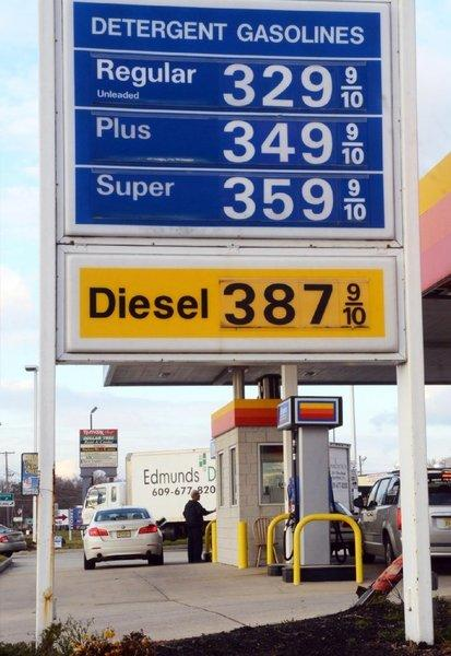 Prices are posted at a gas station in Egg Harbor Township, N.J., on Tuesday. Gas prices are finally on the decline in South Jersey, as they have been elsewhere in the country, helping push down the consumer price index in November.