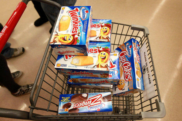 A shopper loads up on Hostess snacks this week in Chicago.