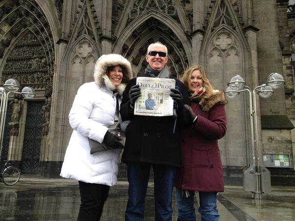 From left to right, Sally and Jeff Herdman with daughter, Cindy Valdez, in Cologne, Germany, in front of the Dom (Cathedral) at the Cologne Christmas Market on Dec. 1.