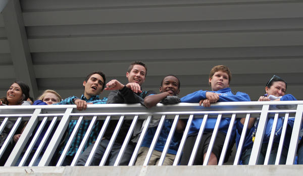 Apopka High School watch their pep rally from the balcony in Apopka, Fla. Apopka will play in the Class 8A state championship football game tomorrow at the Citrus Bowl in Orlando, Fla.