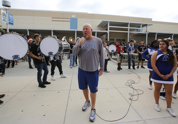 Apopka High School's football coach Rick Darlington speaks to the student body during a pep rally in Apopka, Fla. Apopka will play in the Class 8A state championship football game tomorrow at the Citrus Bowl in Orlando, Fla.