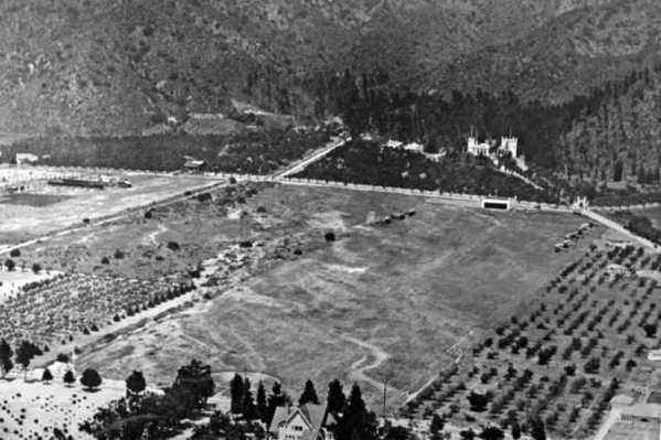 L. C. Brand had this airfield built below his El Miradero home in northwest Glendale. In 1924, he hosted a party on the airfield for one of the pilots of the first around-the-world flight. (Courtesy of Special Collections, Glendale Public Library)