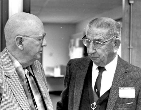 Two of Glendales pioneers, Wilbur Lee, left, and Miguel Camargo,right, were among those honored at a special event during the citysseventy-fifth celebration of incorporation in 1981. (Photo courtesy of Glendale Public Library, Special Collections)