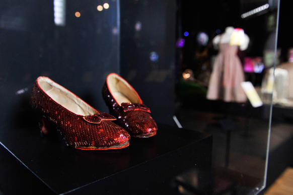 "The legendary ruby shoes worn by Dorothy Gale in ""The Wizard of Oz"" are on display."