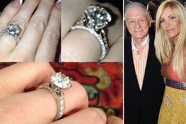 "Crystal Harris was flaunting her new engagement ring -- the second she's received from one Hugh Hefner in two years -- Tuesday on Twitter.  With the caption ""My beautiful ring from @hughhefner,"" Harris posted a montage of the new dazzler, shown above, which is similar but not identical to the one she accepted in December 2010 and then auctioned off in October 2011 after she decided to walk away only days before their planned June wedding.  ""The relationship has really gotten serious. I must confess that I love the girl,"" Hefner tweeted last month; Tuesday he retweeted the shots of the ring.   <br><br> <strong>Full story:</strong> <a href=""http://www.latimes.com/entertainment/gossip/la-et-mg-crystal-harris-hugh-hefner-engagement-ring-20121211,0,1015640.story"">Crystal Harris shows off engagement ring No. 2 from Hugh Hefner</a>"