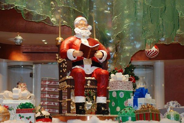 A 5-foot-tall Santa made from dark chocolate and fondant greets visitors to the Jean Philippe Patisserie at Bellagio.