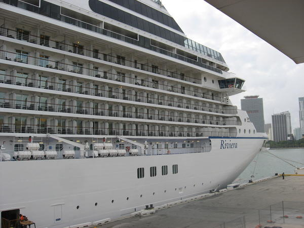 Oceania Cruises' new 1250-passenger Riviera ship is docked at PortMiami Dec. 10, 2012.