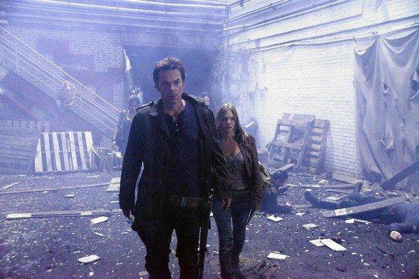 "Billy Burke as Miles Matheson and Tracy Spiridakos as Charlie Matheson in ""Revolution."""