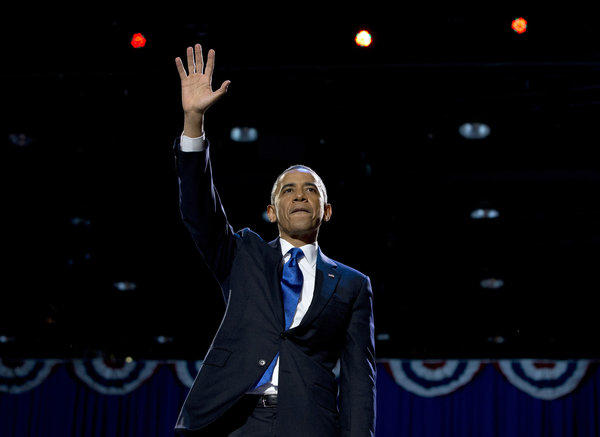 "Pundits have presented a lot of reasons why voters gave President Obama another four years in the Oval Office: His get-out-the-vote campaign was more effective than the ads put up by Mitt Romney's outside spending groups; he captured the Latino voters who make up a growing share of the electorate; he bought the election by promising handouts, yada yada yada. <br><br>  Actually, Obama won because Romney is an empty suit with a demonstrated capacity to say absolutely anything to try to get elected, whether he believes it or not, and whether his positions contradict each other or not. It can't have escaped voters that Romney's ""solutions"" to the deficit and joblessness problem were illusory and based on fantasy mathematics. The few times Romney's true ideas could be glimpsed past his polished  campaign veneer, they were revealed to be insulting and poisonous, such as when he implied that 47% of American voters are essentially freeloaders.  <br><br>   For a president as unpopular as Obama to win in the face of a serious economic downturn is a tribute to the quality, or lack thereof, of his opposition. Yet Obama, at least, is proposing real solutions to the country's problems and has shown slow but steady success. He will make a much better leader than a former Massachusetts governor who couldn't even carry Massachusetts. <br><br> Above: Obama waves to supporters at his election night party in Chicago."