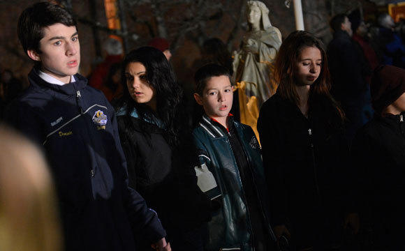 A prayer vigil in Newtown, Conn.