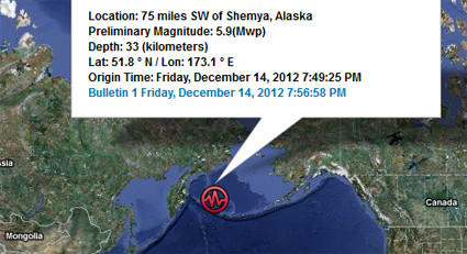 No Tsunami Warning for Earthquake near Aleutian Islands