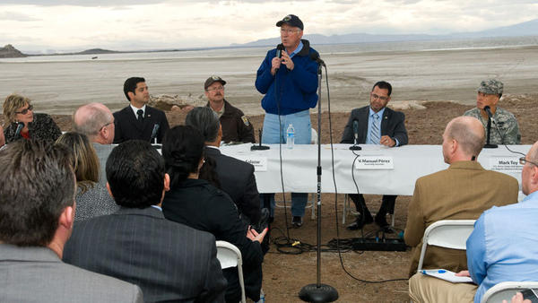 Interior Secretary Ken Salazar takes comments from local officials about restoration of the Salton Sea on Friday afternoon at Red Hill Marina at the Salton Sea.