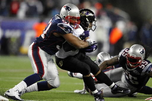 Jerod Mayo, left, is the NFL's third-leading tackler this season