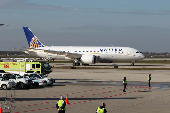 The United Airlines 787 Dreamliner makes its inaugural flight from Houston to Chicago