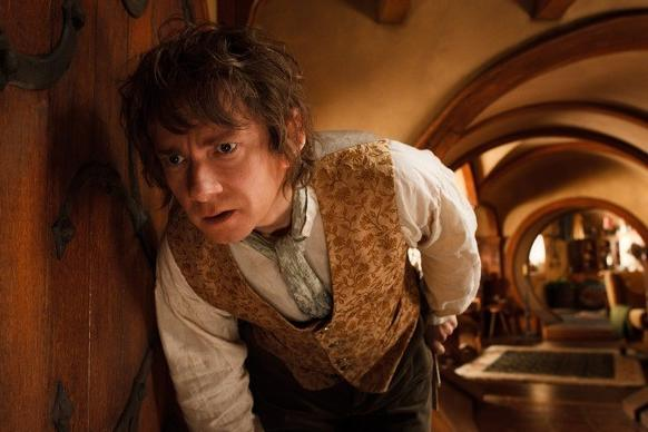 "Bilbo (Martin Freeman) in his Hobbit home. ""We used round doors to be true to Tolkien's descriptions,"" production designer Dan Hennah said."