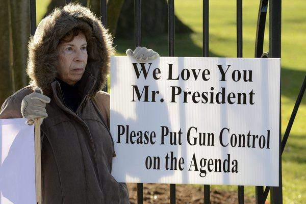 A supporter of gun control is seen standing outside the White House in Washington D.C. A host of sensible laws have been proposed over the years that would make it harder for dangerous people to obtain guns, or which would ban the kind of guns that are good only for mass killing.