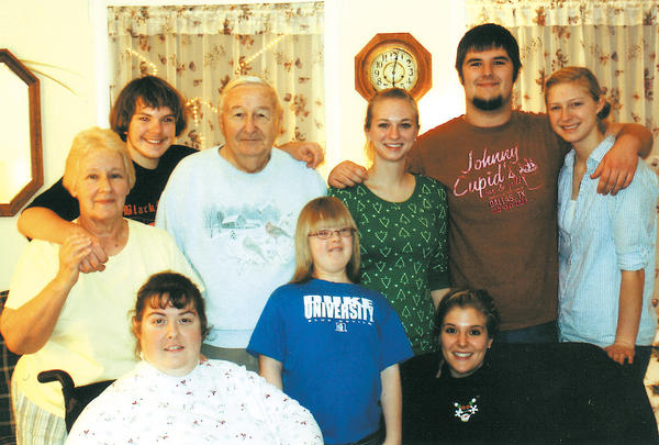 The Breakalls pose for this picture with their grandchildren on Dec. 28, 2010. Pictured are, front row, from left, Ashley Henry, Tempest McKenzie and Erin Smith; and back row, Shirley Breakall, Quinn McKenzie, Gary Breakall, Jessica Riesett, Evan Smith and Susan Riesett.