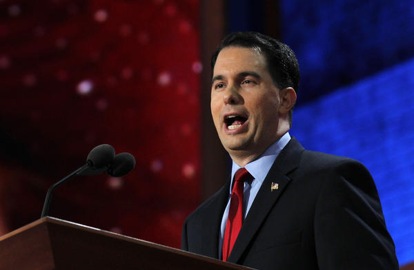 Wisconsin Gov. Scott Walker speaks at the Republican National Convention in August in Tampa.