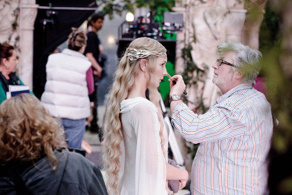 "Cate Blanchett with makeup and hair designer Peter King on the set of the fantasy adventure movie ""The Hobbit: An Unexpected Journey."""