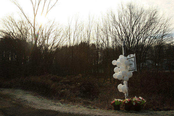 Balloons and flowers are left as a memorial on a road that leads to the Sandy Hook Elementary School, where a gunman opened fire on children and staff members.