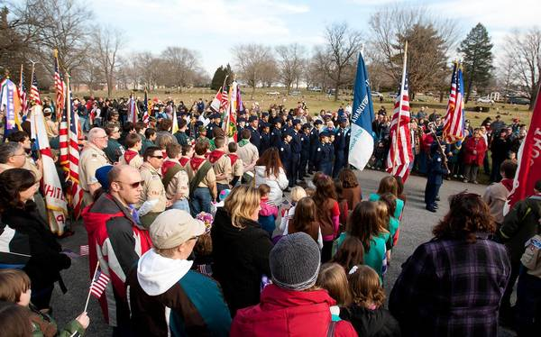 "A large crowd gathered for Saturday's Wreaths Across America"" ceremony in Allentown's Cedar Hill Memorial Park."