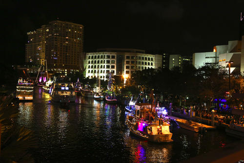 The Seminole Hard Rock Winterfest Boat Parade started on the New River in Fort Lauderdale and travelled to the Intracoastal north to Lake Santa Barbara in Pompano Beach.  The festivities were  expected to be viewed by over one million spectators with boats adorned with hundreds of thousands of lights.