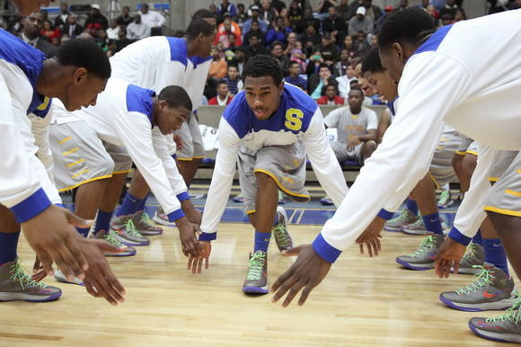 Simeon Jaylon Tate during player introductions before the start of their game against DeSoto at Grand Prairie High School.