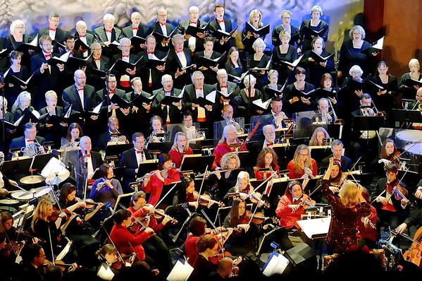 The Hagerstown Choral Arts and the Maryland Symphony Orchestra perform at the Maryland Theatre's annual Home for the Holidays concert Saturday night.
