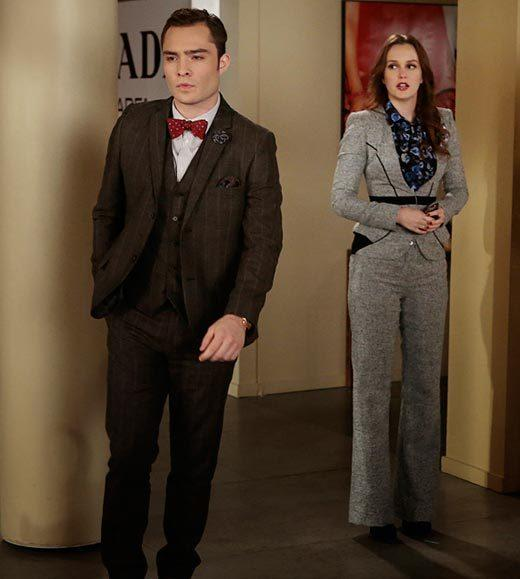 'Gossip Girl' fashion: The good, the bad and the exceedingly ugly: Blair is looking at Chuck with concern. He should be looking at her pantsuit with suspicion.