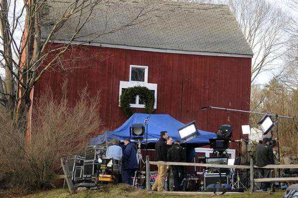 An NBC News crew set up an outdoor studio next to a rustic red barn across the street from the Sandy Hook firehouse, a staging area for the media and emergency workers at the scene of the horrific shooting massacre at Sandy Hook Elementary School.