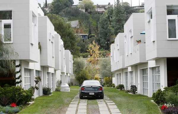 Glendale is looking at allowing developers to divide lots in southern Glendale to build smaller single-family homes on skinnier, subdivided lots like the one at Rock Row in Eagle Rock, which appear to be connected, but share no common walls.