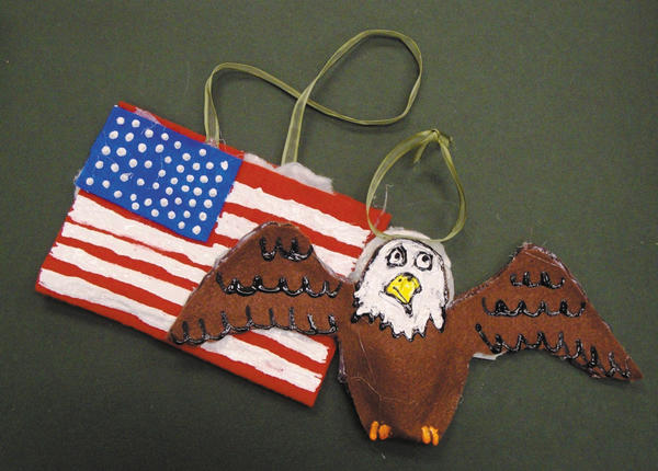 Smithsburg Middle School students participated in a project to make winter holiday ornaments, like the ones above, to honor veterans.