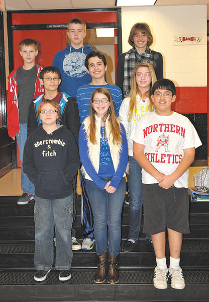 Students in the picture are as follows: Bottom row, from left, Smith, Emily Burzinski and Gabe Burgess. Middle row, Christian Drury, O'Donoghue and Samantha Gronholm. Top row, Cameron Whaley, Shubert and Alex DeGrange.