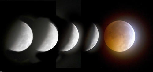 This five exposure sequence shows the moon headed toward full lunar eclipse Tuesday morning 12/21/2010.