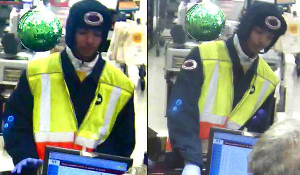 Surveillance photos of a man wearing CTA clothing who robbed a bank in Homewood today.