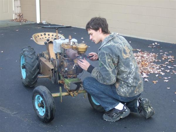After a little fine tuning of the carburetor by Ethan, the 50-year-old Briggs & Stratton engine ran smoothly.