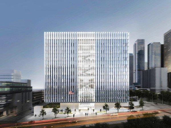 The 550,000-square-foot courthouse will feature a bright, serrated facade and a structural design that allows the cubic courthouse volume to appear to float over its stone base, officials said.
