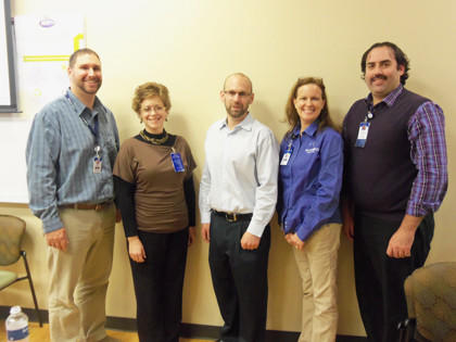 In honor of World Diabetes Day on Nov. 14, Sanford Aberdeen Medical Center hosted Dr. John Palmer, adult endocrinologist from Rapid City. He spoke to Sanford Health Aberdeen Clinic physicians, physician assistants and nurses and Sanford Aberdeen Medical Center physicians, nurses and administrative staff. Dr. Palmer shared his expertise and insight regarding the use and benefits of insulin for patients with type II diabetes. This World Diabetes Day event was presented as part of the Sanford diabetes education mission to promote the very best in diabetes prevention and care. From left: Brady Carda, RN/health coach; Lisa Kopecky, registered dietitian; Dr. Palmer; Nancy Hartung, RN/diabetes educator; and Scott Eisenbeisz, director for Sanford Health Aberdeen Clinic.