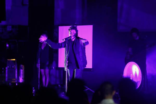 The Weeknd, an Ethiopian singer based in Toronto, performs at the Orpheum Theater on Saturday night.