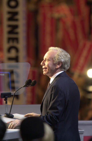 LOS ANGELES,CA; 8.16.00: Vice presidental candidate Sen. Joseph Lieberman speaks at the the Democratic National Convention.